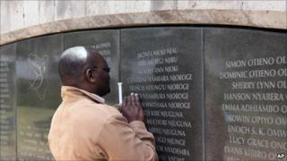 Douglas Sidialo, head of Kenya association of 1998 bombing victims at the memorial to those killed