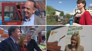 Nick Bourne, Kirsty Williams, Nerys Evans and Ed Balls campaigning