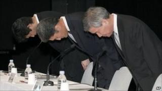 Sony Computer Entertainment President Kazuo Hirai alongside vice presidents Shiro Kambe, left, and Shinji Hasejima, right