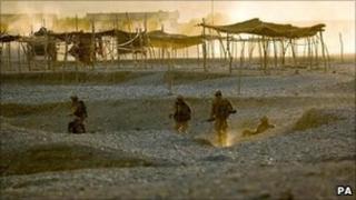 Soldiers on patrol in Helmand province, Afghanistan