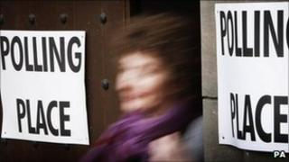 someone coming out of a polling station