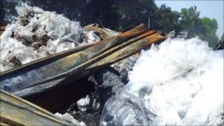 Rubble at the site of the fire