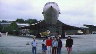 Children from Filton Hill School in front of Concorde at Filton Airfield