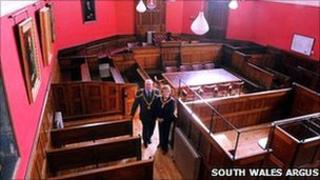 Mayor Councillor Alex Leatherwood and Mayor's consort Jenny Mee in the newly refurbished court room. Photo courtesy of South Wales Argus