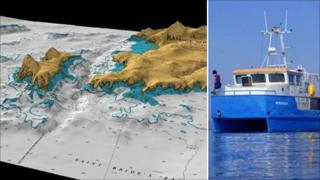 Swansea University's research vessel Noctiluca and 3D model of sea bed