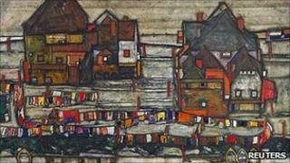 Houses with colourful laundry (Suburb II) by Egon Schiele