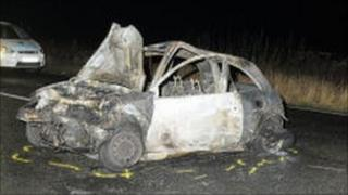 The burnt out Ford Ka