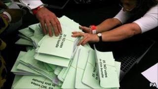 Ballot papers for the national referendum on the alternative vote (AV) system