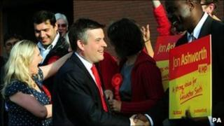 Labour's Jon Ashworth greets supporters after by-election win