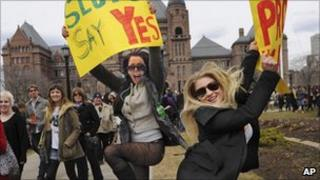 Magdalena Ivasecko, left, and Sierra Chevy Harris during the SlutWalk in Toronto, Canada, on 3/4/11