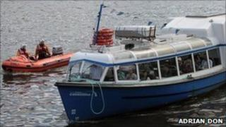 Lifeboat with Coventina (pic courtesy of Adrian Don/RNLI)