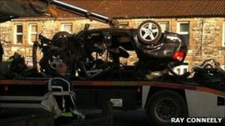 Crashed car is recovered
