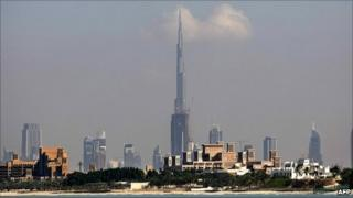 Dubai skyline with Burj Khalifa tower at centre