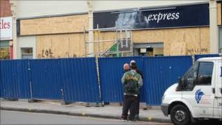 Stokes Croft Tesco Express being repaired