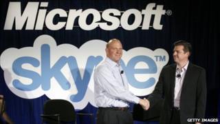 Steve Ballmer with Skype CEO Tony Bates