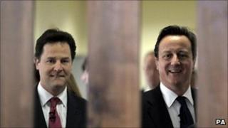 Nick Clegg and David Cameron on a visit to a hospital last month