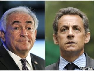 Dominique Strauss-Kahn (left) and Nicolas Sarkozy - rival French politicians tipped by analysts to stand in the next election (combination picture of recent images)