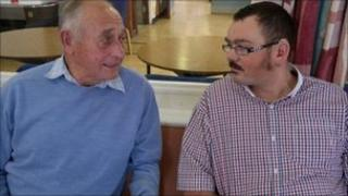 Eddie Griffiths with a visitor at Eastham day centre