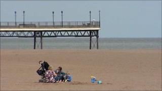 Family on Skegness beach