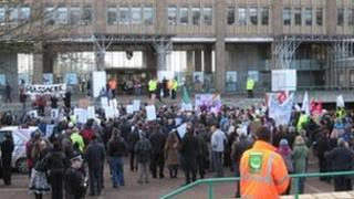 Protest outside Norfolk County Hall