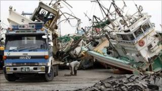 Damaged fishing boats in Japan's Fukushima prefecture
