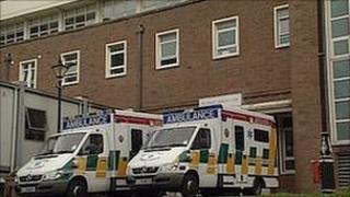 Ambulances outside the hospital