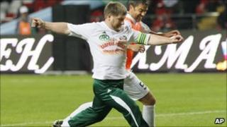 Ramzan Kadyrov and Alessandro Costacurta fight for the ball