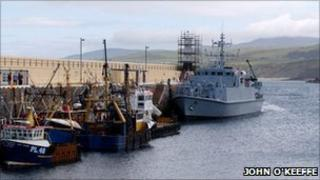 HMS Ramsey birthed in Peel Harbour