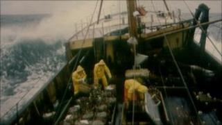 generic fishermen in trawler