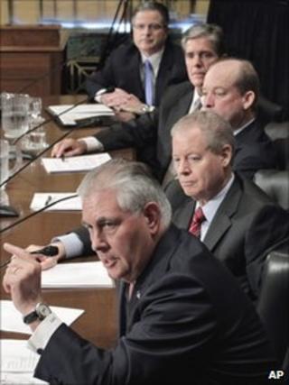 Oil company heads from top: John Watson (Chevron), Marvin Odum (Shell), Lamar McKay (BP America), James Mulva (Conoco), Rex Tillerson (Exxon)