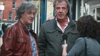 James May and Jeremy Clarkson at the top of Steep Hill in Lincoln