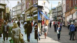 London Street in Norwich in 1986 (left) and 2011 (right)
