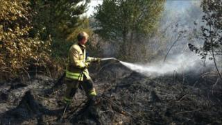 A fire fighter tackles a grass fire with a power hose