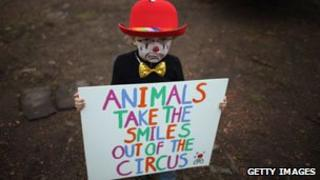 Child protesting against use of circus animals