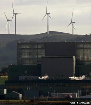 Nuclear power station and wind turbines (Getty Images)