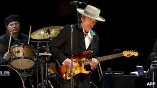 Bob Dylan on stage in Beijing, April 2011