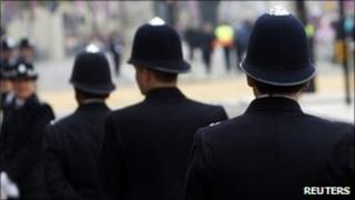 Police officers at the Royal Wedding