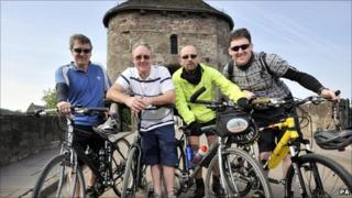 Michael Meredith (centre left) with friends (from left to right) John Cole, Terry Maloney and Kelston Glover, in Monmouth, before they set off on the fundraising cycle ride from north to south Wales.