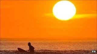 Sunshine and surfer in Devon