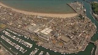 Aerial shot of Weymouth