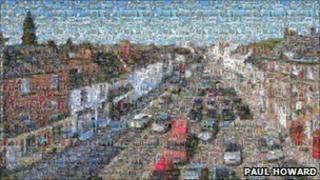 A mosaic of Towcester high street.