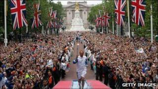 Sir Steve Redgrave carrying the Olympic flame
