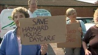Protest against cuts at Hayward House cancer day care centre