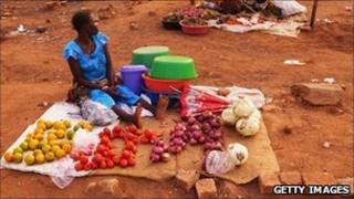 A market in South Sudan - file image