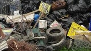 Piles of rubbish on a farm