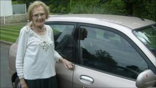 Peggy Hovel with her car
