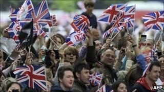 People celebrating last month's royal wedding