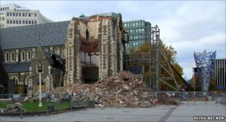 Christchurch Cathedral on 27 April 2011, courtesy of Ross Becker, documentary photographer