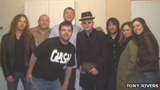 Alan McGee pictured with regulars from the Mountain Ash Inn
