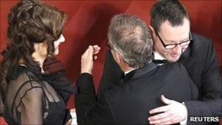 Lars Von Trier (r) with his wife Bent Froge (l) and Cannes president Thierry Fremaux